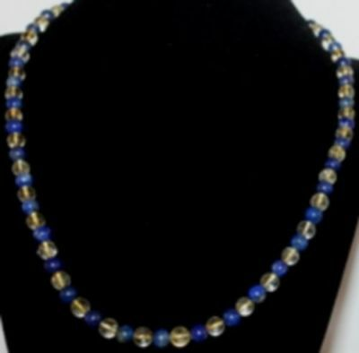 Collier - bracelet en perles 6 mm Citrine - Lapis Lazuli Top qualité