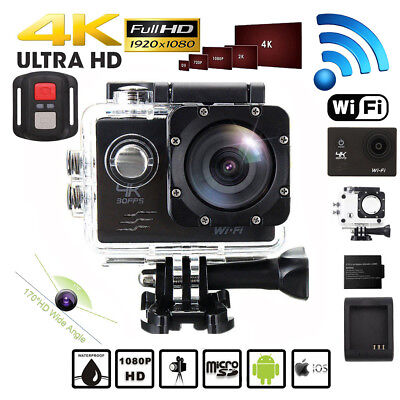 4K 16MP Ultra HD Sports Action Camera Wifi 30M Waterproof 2 Batteries As Gopro