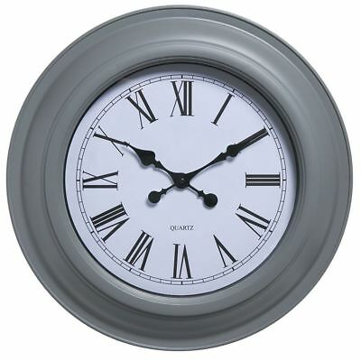 Large Grey Wall Clock Roman Dials Numerals 47cm Home Decoration
