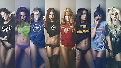 Superhero Marvel And DC Girls Poster Print T193 |A4 A3 A2 A1 A0|