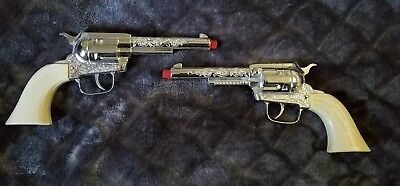 Vintage Pair Of Pony Boy Western Die Cast Metal Toy Cap Guns -Rare-