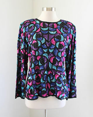 Vtg 80s Ornate Silk Beaded Sequin Evening Blouse Size L Black Pink Blue Party