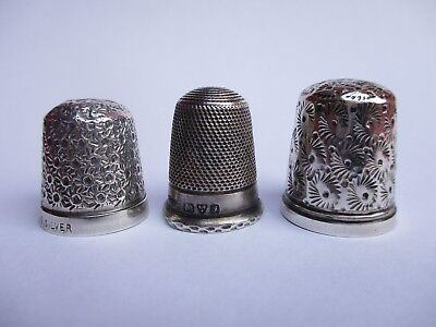 Rare Collection 3 Antique Sterling Silver Thimbles Chester