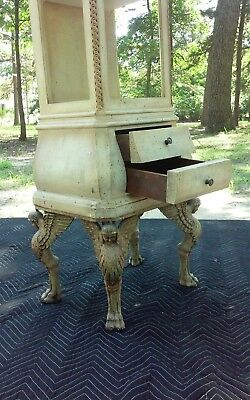 Antique Vintage GRIFFIN PUTTI EGYPTIAN REVIVAL LEGS Carved WOOD CURIO Cabinet