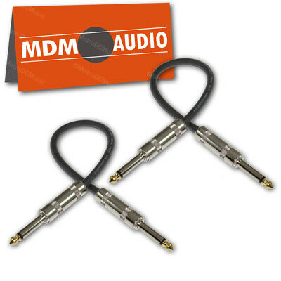 "2-Pack MDM Audio 1ft Patch Cable Cord 1/4"" Straight 20AWG Shielded Gold 12 inch"