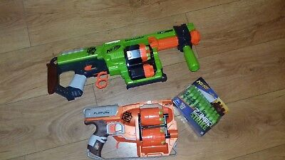 Nerf Zombie Strike Doominator + Nerf Flipfury + Brand New Box Of Bullets