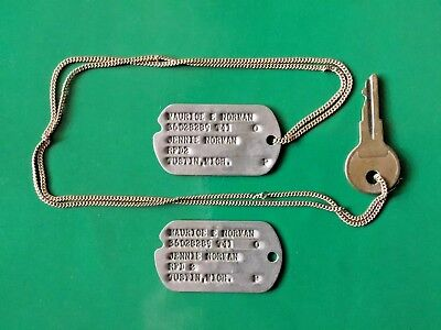 Pair WW2 US Soldier - Michigan  type1 Next of Kin NOK Dog Tags T41 w/chain & Key