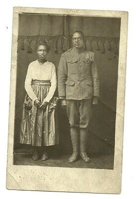 World War 1 African American Soldier In Full Uniform Real Photo Rppc