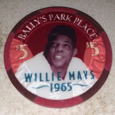 Bally's Park Place Willie Mays $5 Casino Chip Atlantic City New Jersey
