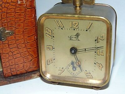 ANTIQUE FRENCH ALBERT VILLON BRASS TRAVEL ALARM CLOCK in ORIGINAL CASE