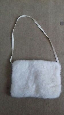 Mothercare Girls Ivory Hand Faux Fur Hand Muff Good Condition
