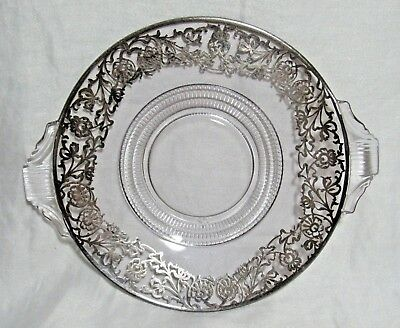 Vintage Sterling Silver Overlay Ornate Art Nouveau Floral Plate Dish Tray