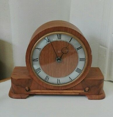 Vintage 8 Day Light Oak Mantle Clock with Platform Escapement