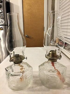 Antique Vintage Pair of Matching Oil Lamps w/ Chimney's - Clear