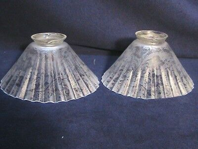 2 Floral Ruffled Fluted Etched Chandelier Light Lamp Shades