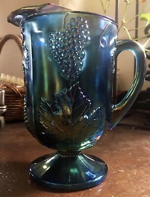 Indiana Glass Iridescent Blue Carnival Harvest Grape Pitcher