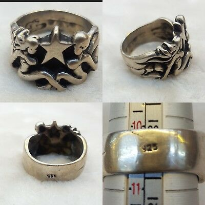 Wonderful Old Roman Silver Ring With A Couple Statue Sign LESBAIN #z3