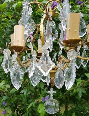 Stunning Petit Antique French Branch Crystal Chandelier-perfect for Small Spaces