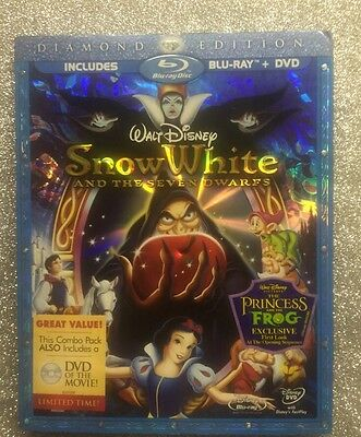 Snow White and the Seven Dwarfs (Blu-ray+DVD, 2009; 3-Disc Set) NEW w/ Slip OOP