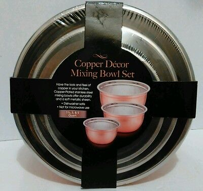 NEW Copper Decor 3pc Mixing Bowl Set Copper Finish Stainless Steel 1, 3, 5 Qrt
