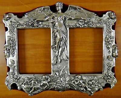 Vintage 1920's 1930's Guardian Angel Sterling Silver Double Picture Frame
