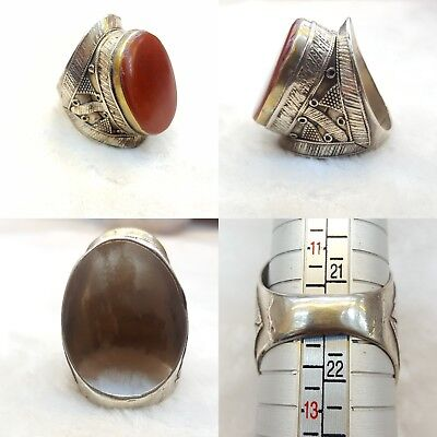 Beautiful Huge Vintage Silver Ring With Rare and Very Old Yaman  Agate Stone #2y