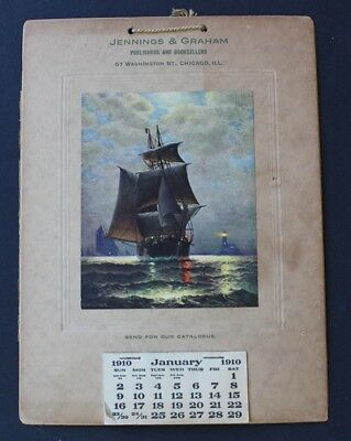 Antique Desk Calendar 1910 Leaving Port Jennings & Graham