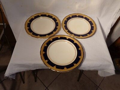 "Three Minton Collamore N.y. Cobalt Blue Gold Encrusted 9 5/16"" Plates  -  Nr"