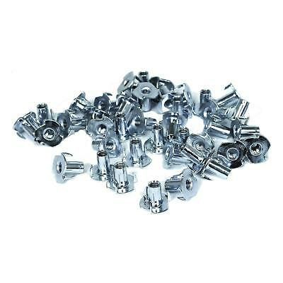 TCH Hardware 100 Pack Steel 3 Prong T Nuts 1/4-20 by 9/16 Inch - Wood Tee Blind