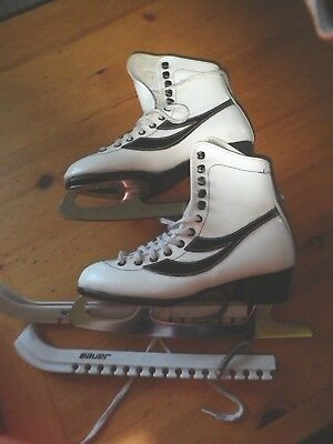 Girls Ice Figure Skates Sz Uk 4 Eu 36 With Blace Covers Made By Super Ga Sport