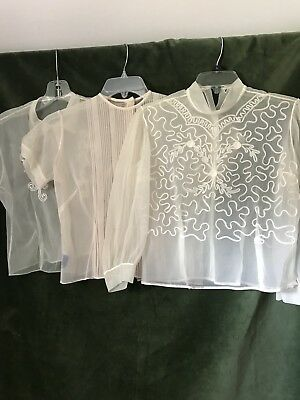 Vtg lot sheer nylon blouses 50's pin tuck soutache Judy Bond