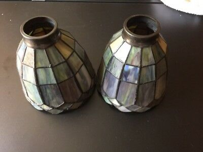 "Lot 2 Stained Glass Tiffany Style Pendant Lamp Shade Set 6"" X 6"""