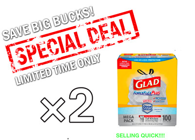 TWO Glad 13 Gal. Drawstring ForceFlex Tall White Kitchen Bags (100-Count)