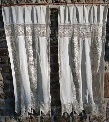 Pretty Pair of Antique French Crocheted Lace Fringed Long Panel Curtains c.1900s