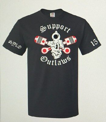 Support Your Local Outaws Mc Cross Pistons Pistol T Shirt Size Large