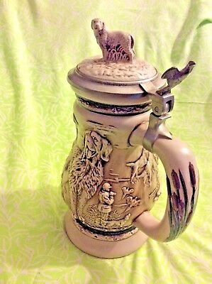 """""""Great Dogs of the Outdoors"""" Many Hunting Dogs Stein Ceramic & Pewter Excellent!"""
