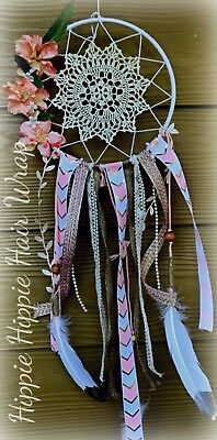 Pink White Dream catcher Hand Made |Ships FREE In US