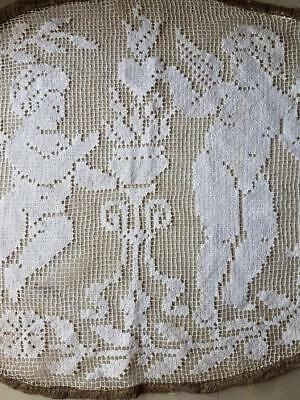 Stunning Rare Antique French Oval Lace Panel with Cherubs,Metallic Gilt Trim