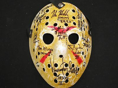9X JASON VOORHEES Actors Cast Signed Hockey MASK Friday the 13th Kane Hodder ++