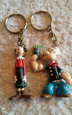 Popeye and Olive Oyl Keyring. Vintage Artoy 1993. Set of 2 Two Pair. Oil. Sailor