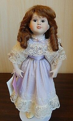 """EMILY, Paradise Galleries 13.5"""" Porcelain Doll in Lavender & Ivory Dress w/Tag"""