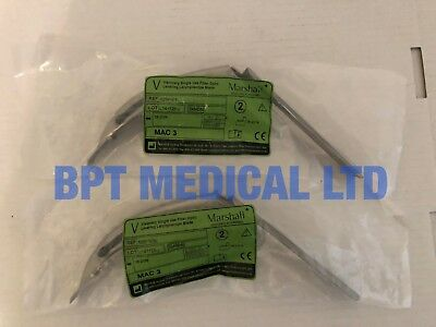 Marshall mac3 Laryngoscope blade Fiber Optic 525F130L New Lot of 2