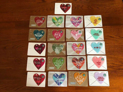 STARBUCKS Various DIE CUT HEART GIFT CARDS - MINT - FREE SHIPPING