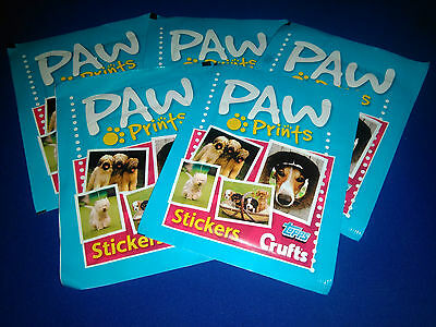 Crufts Paw Prints Topps 5 Unopened Sticker Packs