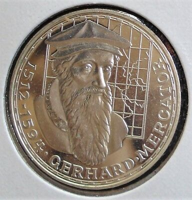 German 1969-F Silver 5 Mark Coin Proof Gerhard Mercator Lower Mintage of 200,000