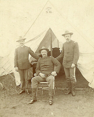 SpanAm War era New Hampshire Guard soldiers tent cabinet card photograph