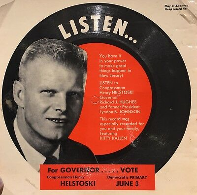 33 RPM For New Jersey Governor Congressman Henry Helstoski Campaign Record