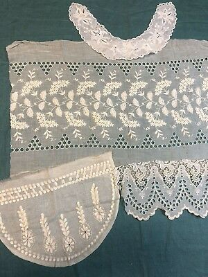 Antique Hand Embroidered Whitework Broderie Anglaise Ayrshire Lace  4 pc Lot