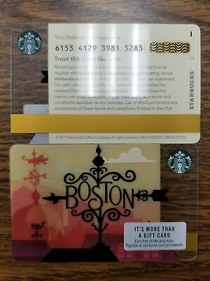 Brand New Rare Line Starbucks Boston City Series Gift Card Set 2018 Hard To Find