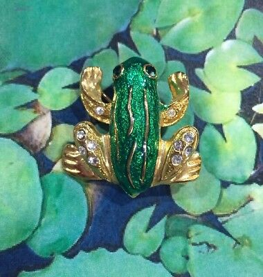 Vintage Frog Pin Brooch Green Gold Toned Amphibian with Rhinestones